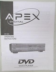 vintage apex digital operating instruction manual ad 1200 dvd video rh ebay com Emerson DVD Player Model Ewd Emerson DVD Player Model Ewd