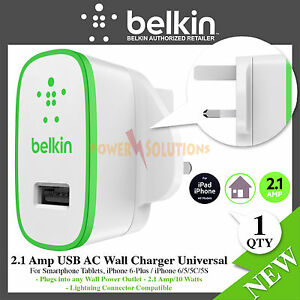 Belkin 2.1 Amp USB AC Wall Charger Universal for Smartphone Tablets F8J052ukWHT