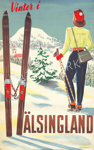 Unique-Vintage-Vinter-I-Alsingland-Skiing-Advertising-Print-Choice-of-2-sizes