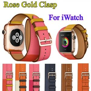 Leather-Double-Tour-Rose-Gold-Buckle-Strap-Bracelet-for-Apple-Watch-Series-4-3-2