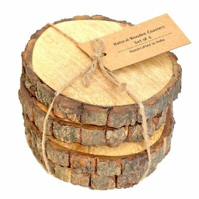 Rare Black Walnut Tree Wood Coasters with Bark 4-Pack