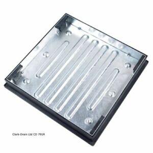 Blocco pavimentazione CHIUSINO DA INCASSO 600mmx600mm x 80mm CD791R 690x690x98 complessiva