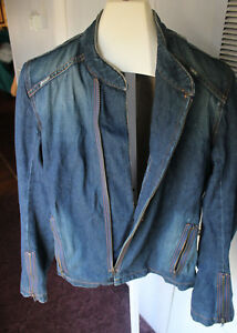 half off free shipping united kingdom Details about JOIE Zip Up Moto Style Blue Denim Jean Jacket Size L Large