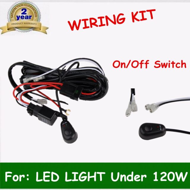 2m Led Light Bar Wiring Loom Harness Switch Relay Kit 40a