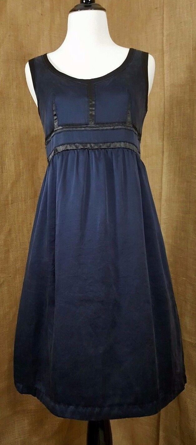 Proenza Schouler Target Dress 3-4 Navy bluee Silk Empire Waist Fit Flare Midi