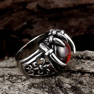 fashion men boy 316l stainless steel punk ruby ring gothic