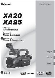 canon xa20 xa25 hd camcorder user instruction guide manual ebay rh ebay com canon hd camcorder instruction manual jvc camcorder instruction manual
