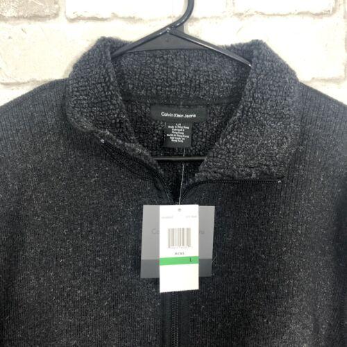 Large Klein grigio Shearling Sz maglia cerniera a con Calvin a lavorato collo Nwt Maglione alto Uomo SgfxAnq