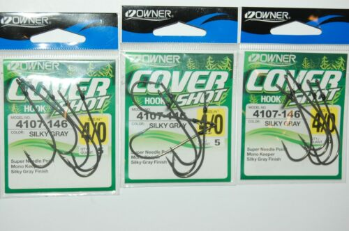 3 packs owner cover drop shot finesse hook silky gray 4107-146 siz 4//0 w// keeper