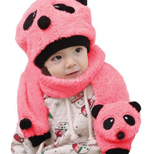 Newborn Baby Girl Boy Hats Winter Panda Toddler Caps Beanie Scarf Sets Kids GQ