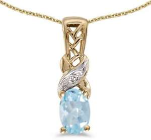 10k-Yellow-Gold-Oval-Aquamarine-amp-Diamond-Pendant-Chain-NOT-included-P2584-03