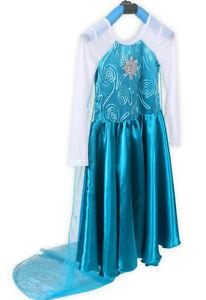 Frozen-Vestido-de-fiesta-Princesa-Elsa-Azul-Reina-de-las-nieves-nina-Cosplay