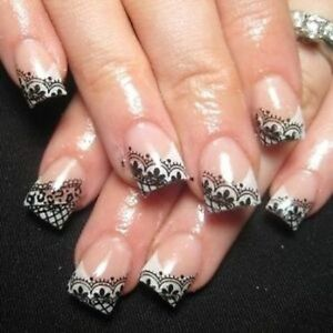 Nails Wraps Nail Art Water Transfers Decals Black Lace Nail Tips Y10
