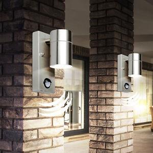 2 x led edelstahl au en wand lampe mit bewegungsmelder sensor haus leuchte ip44 ebay. Black Bedroom Furniture Sets. Home Design Ideas