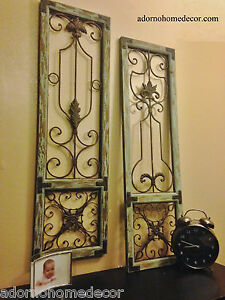 Distressed metal wood wall panel set antique vintage for Unique decorative accessories