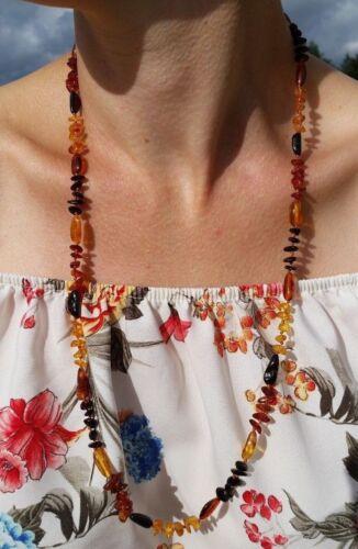 "27,5/"" Hermosa Genuino del Báltico ámbar Collar para Niña//Mujer Mix"