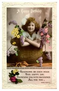 Antique RPPC real photograph postcard card A Happy Birthday girl basket flowers