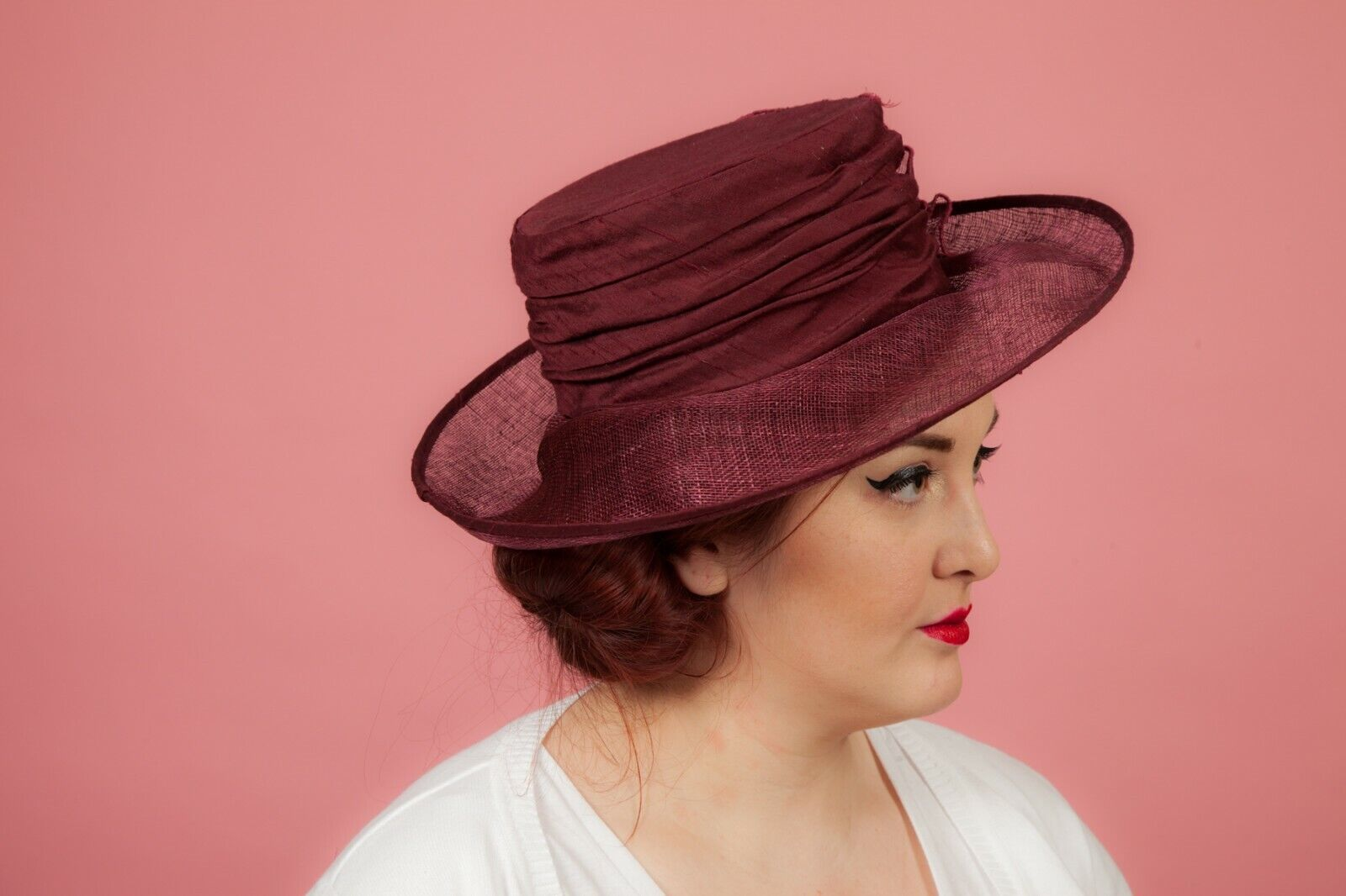 Burgundy raw silk ribboned flower formal hat by Mad Hatters Wedding Races