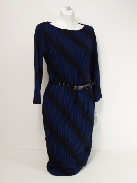 dress Sharagano Size 6 blue and black 3/4 sleeves belt included