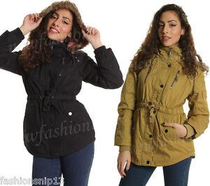 5fc436255 Womens Girls JACKET Spring Faux FUR HOODED Short PARKA COAT Khaki 8 ...