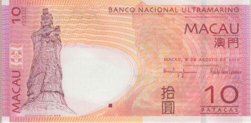 Macau Macao 20 Patacas p-81 2013 BNU Banco Nacional Ultramarino UNC Banknote