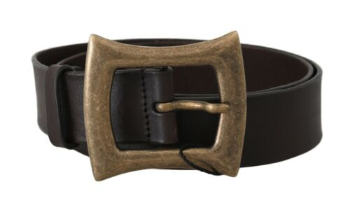 3 DOLCE /& GABBANA Belt Brown Leather Gold Buckle Wide s 95cm