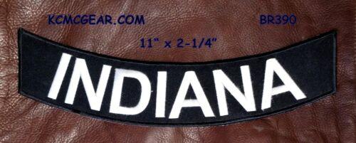 INDIANA White on Black  Bottom Rocker Patches for Vest jacket BR390
