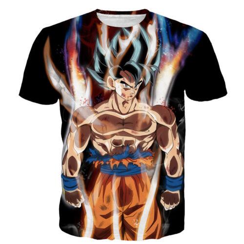 Women//Men Dragon Ball Z Flame Goku 3D Print Casual T-Shirt Short Sleeve Tee 5XL