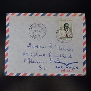 CONGO LETTRE COVER CAD BRAZZAVILLE 1962 -> MINISTRE DE L'INTÉRIEUR BRAZZAVILLE