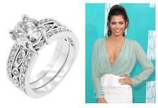 6.8 TCW Round Cut Solitaire Bezel CZ Engagement Wedding Bridal Ring Set Size 7