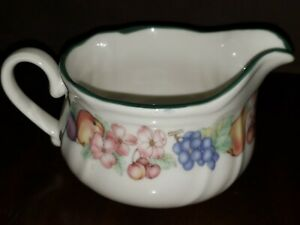 Epoch-China-Dinnerware-Market-Day-Gravy-Boat-Fruit-Border-Green-Trim