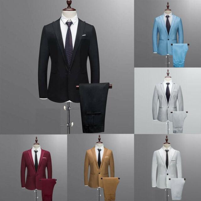 HOT Men's Suit Slim 3-Piece Suit Blazer Business Wedding Party Jacket Vest&Pant