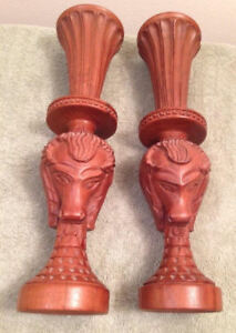 2 Hand Carved Wood Rams Head Candlestick Holders Brown Hoofs Mountains Horns
