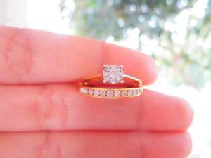 .44 Carat Diamond Twotone Gold Half Eternity & Engagement Ring Set 10k codeER47