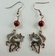 Dancing Horse Cowgirl Earrings, Red Jasper Gemstone, Tibetan Silver, Handmade