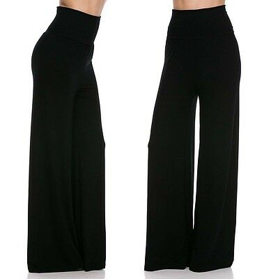 VIVICASTLE BLACK FOLDOVER HIGH WAIST FLARED WIDE LEG YOGA PALAZZO PANTS S M L XL