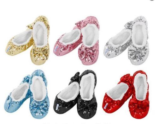 Neuf Enfants//femmes Snoozies Bling Ballerine Chaussons Antidérapant pied Revêtements