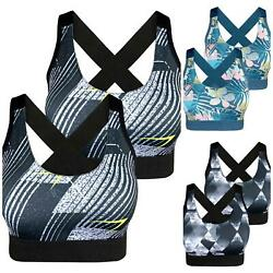 2 Damen SPORT BH Bustier Bra Push UP ohne Bügel Yoga Trägertop 36 38 40 42 44 46