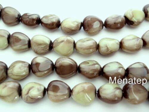 Marbled Green Pearl Coated 12 11 x 9 mm Czech Glass Nugget Beads