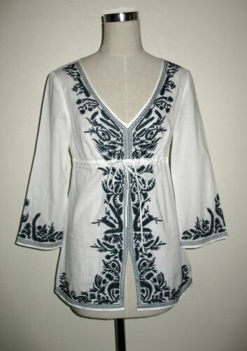 Top Sp Embroidered Mickhael Size Navy Peasant Blouse Kors White w6pqptX8