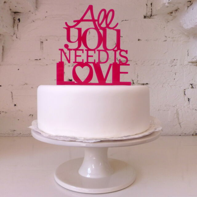 All You Need Is Love Cake Topper - Wedding Beatles Celebration Cake Decoration
