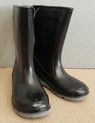BNIP Boys Size 3 Unbranded Black Calf Length Gumboots