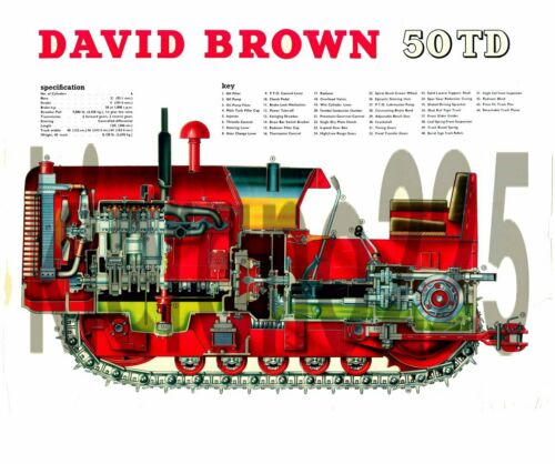 Muy Raro caso David Brown Tractor 50TD Crawler cortar tamaño póster A3
