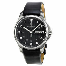 New Swiss Army Victorinox 241549 Officers SS Black Dial Day/Date Watch