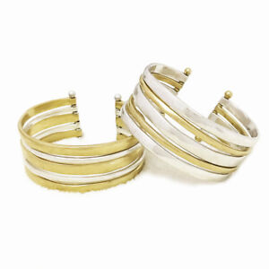 Lucky-Brand-Gold-amp-Silver-Two-Tone-Multi-Row-Hammered-Cuff-Bracelet