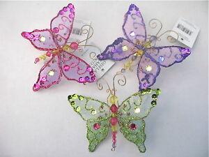 Gisela-Graham-Navidad-Multicolor-Fino-Joya-Lentejuelas-Mariposa-Decoracion-x-3