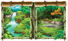 TROPICAL JUNGLE Scene Setter party wall decoration kit 5' scenic window trees