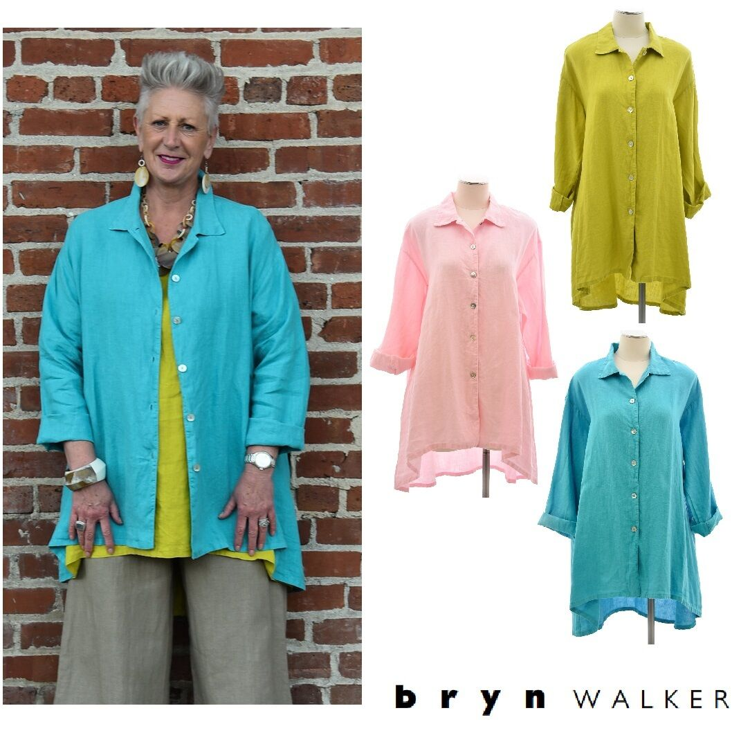 BRYN WALKER Light Linen  MIRREN SHIRT  Hi-Lo Jacket Blouse 1X 2X 3X  SPRING 2017