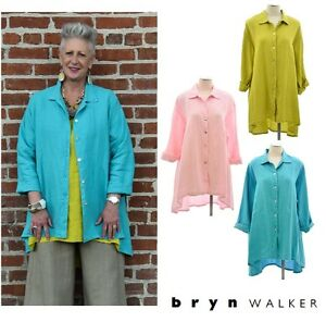 BRYN-WALKER-Light-Linen-MIRREN-SHIRT-Hi-Lo-Jacket-Blouse-1X-2X-3X-SPRING-2017