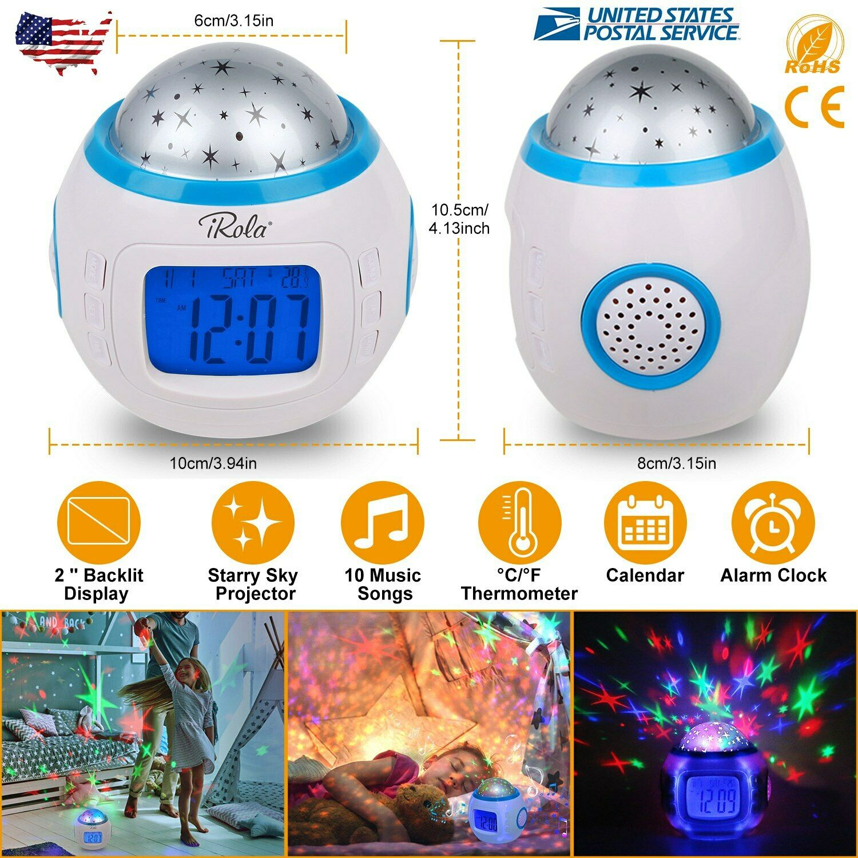 Music LED Star Projector Night light Digital Alarm Clock Thermometer Calendar US